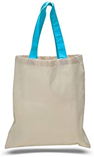 Q-Tees QTB6000 Economical Tote Bag with Colored Handles-Turquoise-ONE