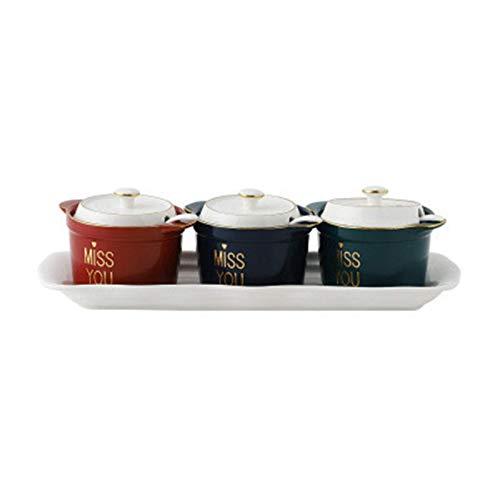 Conjuntamiento del estante Secia de la especia Set de la olla de cerámica Conjunto de tres piezas Conjunto de caja de la cocina de la cocina nórdica Conjuntos de la cocina (color: Tipo de pluma del fr