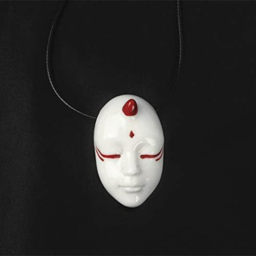 LYWER Collana in Ceramica in Stile Giapponese Fatto a Mano in Pupazzi di Porcellana spirituali per allontanare Il Male e strani Facce di Coppia Pendenti di Coppia Uomini e Donne Regali ( Color : B )