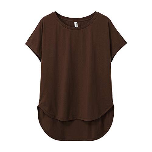 Camiseta Femenina De Manga Corta De Verano Informal Suelta 100% AlgodóN Camiseta AsiméTrica con Cuello Redondo para Mujer