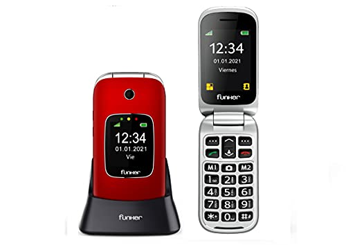 Teléfono Móvil Funker C85 Easy Comfort Rojo con Tapa para Personas Mayores con botón SOS y Base cargadora.