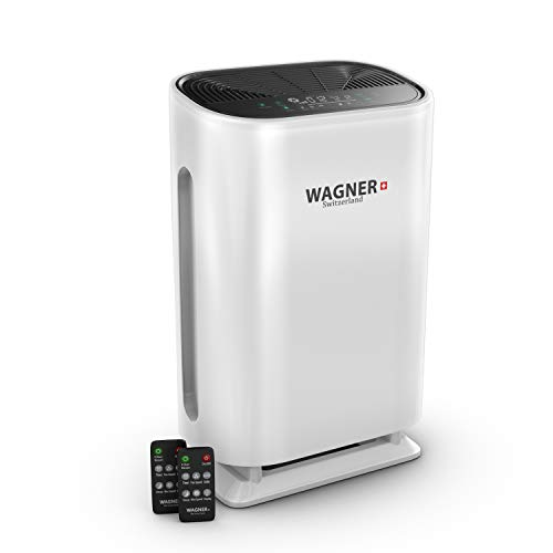 WAGNER Switzerland Air Purifier WA888 HEPA-13 Medical Grade Filter, Particle Sensor for 500 sq.ft. Rooms. Removes Mold, Odors, Smoke, Allergens, Germs, Pet Dander, etc. (White)