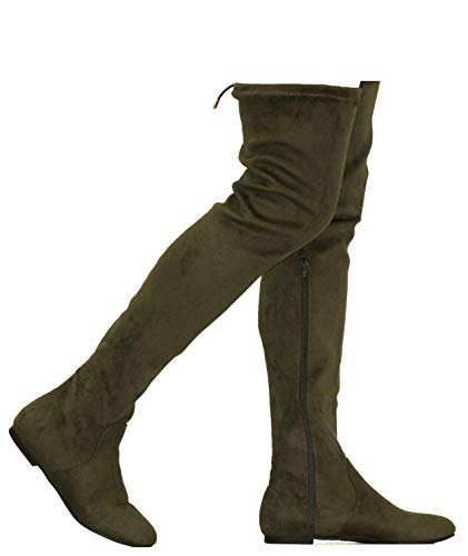 MVE Shoes Womens Fashionable Flat Over The Knee Boots - Comfortable Suede Adjustable Boots, Olive Suede 6