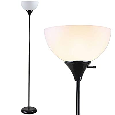 Newhouse Lighting NHFL-CH-BK Charles 71 inch Modern Standing, Torchiere Floor Lamp for Bedrooms, Living Room, Office, Reading, Includes Free LED Light Bulb, Black