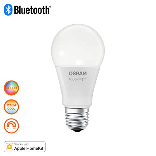 Osram Smart + Apple homekit Classic A RGBW, LED Bombilla En Forma De La Bombilla, control del color y regulable mediante Apple homekit, 10 W, mate, blanco cálido – 2700 Kelvin, 1er Pack