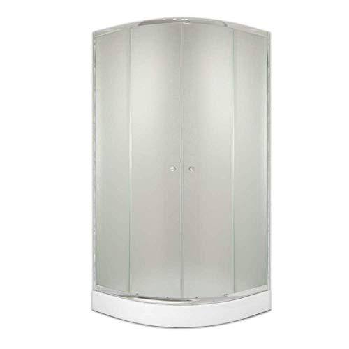 Duschkabine Schiebetür Viertelkreis 90x90x184cm R55 mit Rahmen ESG Sicherheitsglas Milchglas Duschabtrennung