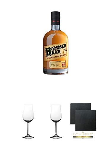 Hammerhead 1989er Vintage Whisky 0,7 Liter + 2 Bugatti Nosing Gläser mit Eichstrich 2cl und 4cl + 2 Schiefer Glasuntersetzer eckig ca. 9,5 cm Ø