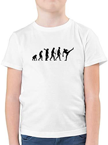 Evolution Kind - Kickboxen Evolution - 104 (3/4 Jahre) - Weiß - Kickboxen Shirt Kinder - F130K - Kinder Tshirts und T-Shirt für Jungen