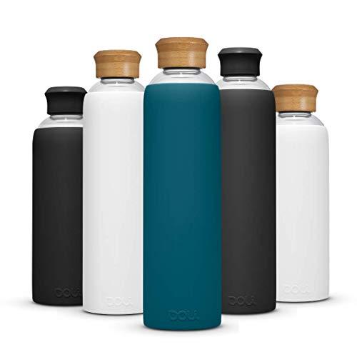 Doli Bottles Trinkflasche Glas in 1l, 0,5l mit Schutzhülle und Schraubverschluss, spülmaschinenfest, 100% BPA frei, Glasflasche für unterwegs und kohlensäurehaltige Getränke 500ml 1000ml