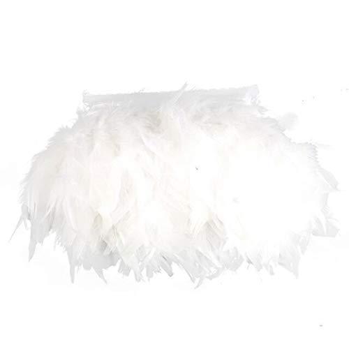 Yalulu 2 Mètre Naturel Plume Ruban de Toile à Coudre Craft DIY Vêtement Ornement Décoration d'intérieur Fete Danse (Blanc)