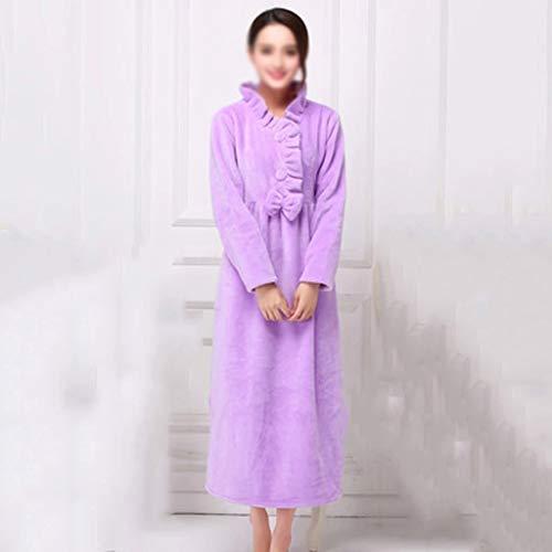 AYDQC Robe de Franela para Mujer Espesa Caliente para túnicas Impresas de Invierno Coral Fleece camisón Princess Manga Larga MÁS TAMAÑO DE DORMIENTO (Size : Medium)