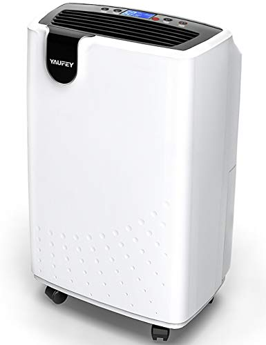 yaufey 30 Pint Home Dehumidifier for Basements Bedroom Removes Moisture, with Continuous Drain Hose Outlet and Wheel, 4 Gallons/Day Intelligent Humidity Control for Space up to 1500 Sq. Ft