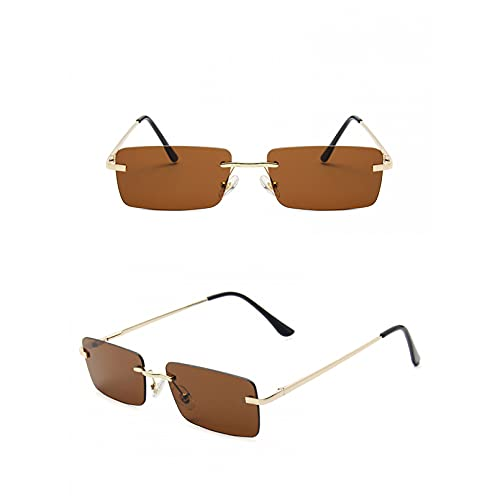 SXRAI Gafas De Sol Rectangulares Mujer Gris Rosa para Mujer Gafas De Sol Cuadradas Sin Montura Unisex Uv400,C2