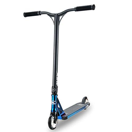 Xspec Pro Stunt Kick Scooter, Unique Oil Slick Anodized Design, Blue Neo...