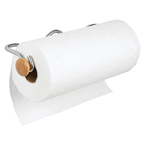 mDesign Portarrollos de cocina – Almacenaje ideal para rollos de cocina – Portarrollos de pared o toallero de paños – Soporte para papel en dos piezas para la pared o los armarios – plateado/natural