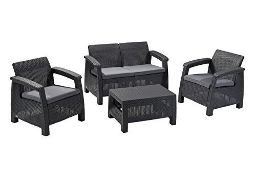 Corfu Rattan-Sofa-Möbel-Set für den Außenbereich, 4-Sitzer, mit Akzenttisch, Graphit mit cremefarben/pilzförmigen Kissen