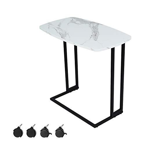 Moncot Mesa de centro rectangular moderna con estructura de metal negro, mesa de café para salón en mármol blanco, tablero de MDF con 4 ruedas, ET220B-WHB