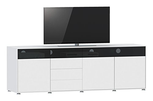 Jahnke TV Lowboard, E1 Spanplatte, lackiert, Sicherheitsglas, Metall, matt Weiss, 200 x 45 x 61.5 cm