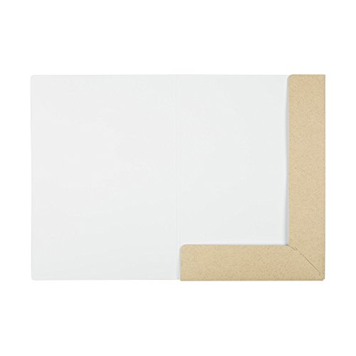 Mappe A4, stabil, Graspapier Phoenogras 390 g/m², innen hochweiß, außen hellbeige natur, Präsentationsmappe, Sammelmappe, Bewerbungsmappe, unbedruckt - 10er Pack