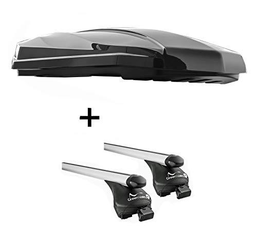 VDP dakbox Strike 440 liter zwart hoogglans + aluminium raildrager Quick compatibel met Ford Focus Active (5 deurs) vanaf 2019 aansluitende raeling