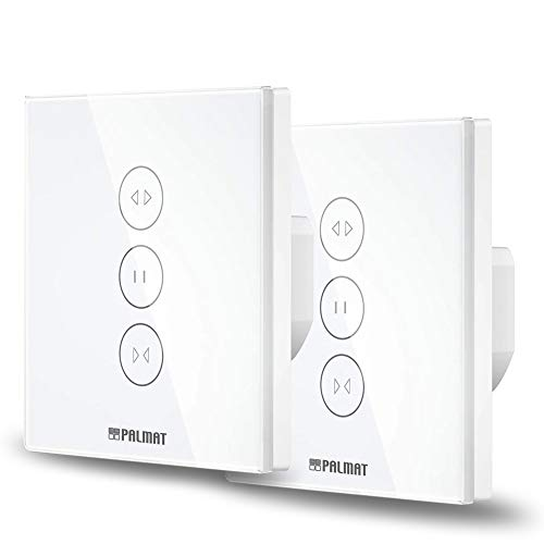 PALMAT Interruptor Control plus Inteligente de persianas y puertas automáticas- Control de voz para puertas motorizadas, Adapto para enrollables, Compatible con Alexa y Google Home (2 piezas, Blanco)