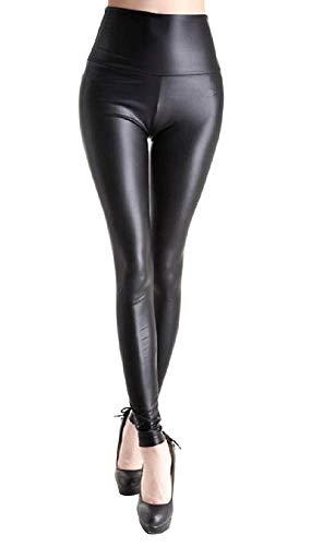 Legging - broek - legging - vrouw - synthetisch leer - eco-leer - zwart - steampunk - retro - gothic - glanzend effect - hoge taille - een maat dark