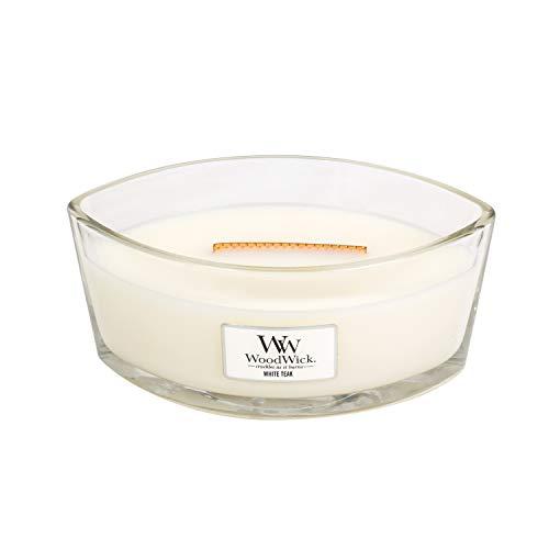 Ellipsenförmige WoodWick Duftkerze mit knisterndem Docht, White Teak, bis zu 50 Stunden Brenndauer