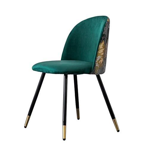 WYBW Silla de comedor para el hogar, sillas de comedor de terciopelo de retazos, asiento tapizado, oficina en casa, silla de bordado de franela con pata de metal para cocina, sala de estar, recepción
