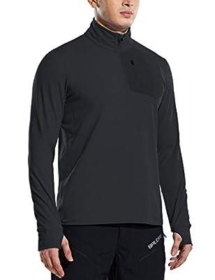 BALEAF Man's 1/2 Zip Pullover Shirts Pockets Long Sleeve Sweatshirts Thumbholes Hiking Camping Golf Black Size XL
