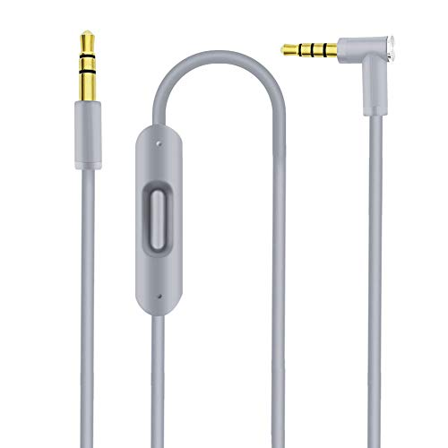 Ersatz Audiokabel Kopfhörer Kabel für Beats Solo Studio Pro Detox Wireless Mixr Executive Pill Kopfhörer, Ersatkabel für Dr. DRE Beats Kopfhörer, mit Inline Mikrofon und Fernbedienung (Grau)