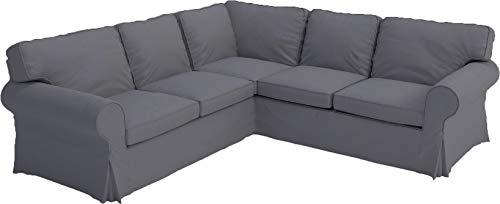 HomeTown Market Sofa Covers Custom Made for IKEA Ektorp 2 2 Sectional Corner Sofa Slipcovers (Polyester Flax Dark Gray, Ektorp Sectional 2 + 2)