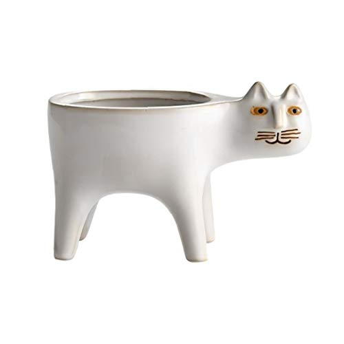 lulongyansf Keramik Sukkulente Topf Katze-Form-Behälter Blumentopf Weiß Hauptdekoration Hauptgarten