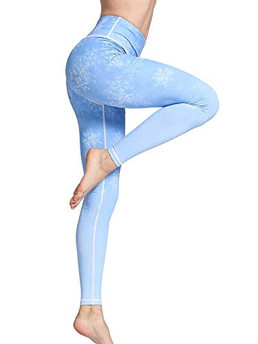 FLYILY - Leggings sportivi - donna Snowflake X-Large
