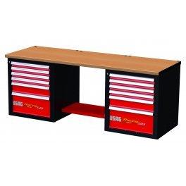 USAG u05192001519RD1Werkbank Racing mit Tischplatte aus Holz, 12Schubladen