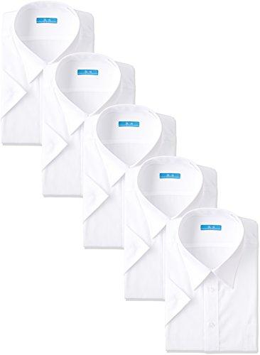 [アトリエサンロクゴ] 半袖ワイシャツ5枚セット 白ワイシャツ 形態安定 ホワイト カッターシャツ 通勤 通学 制服 冠婚葬祭 at-ms-set-1060 メンズ 白-レギュラー L(首回り41cm)