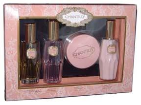 Chantilly By Dana For Women. Gift Set (eau De Toilette Spray 2.0 Oz+ Body Lotion 4.0 Oz+ Dustin Powder 1.75 Oz+ Shower Gel 4.0 Oz)