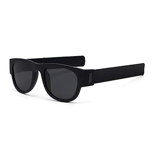 24 JOYAS Gafas de Sol Plegables Polarizadas y Diseño de colores con Funda y Gamuza para Mujer y Hombre (Negro)