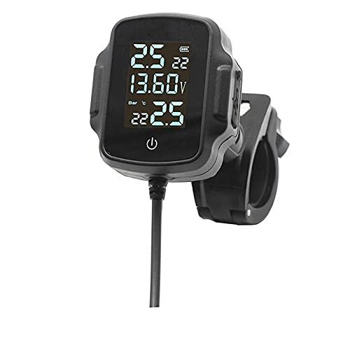 Boyuan Sistema de monitoreo de presión de neumáticos TPMS para Motocicleta, con 2 sensores externos, Cargador USB QC 3.0, Pantalla LCD Digital Función de Alarma Pantalla de Temperatura