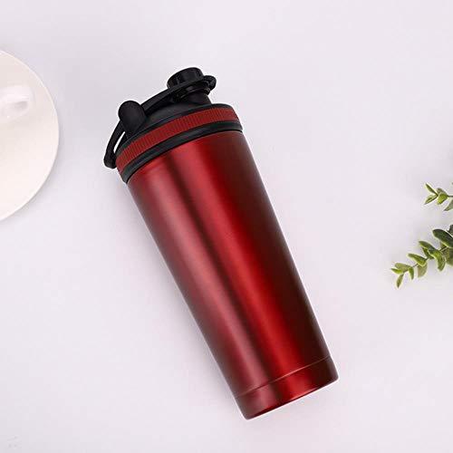 Wei-eiwitpoeder Shaker-fles Roestvrijstalen waterfles Hoge kwaliteit Gym Nutrition Blender Cup Vacuümisolatie Shaker nieuw, rood, 701-800ml