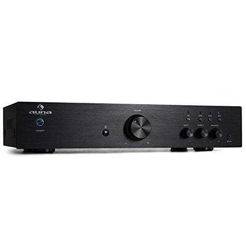 Auna AV2-CD508 Amplificador HIFI Estéreo Negro (600W, AUX frontal, mando a distancia, panel frontal acero inoxidable, ecualizador 2 bandas, balance y volumen ajustable)