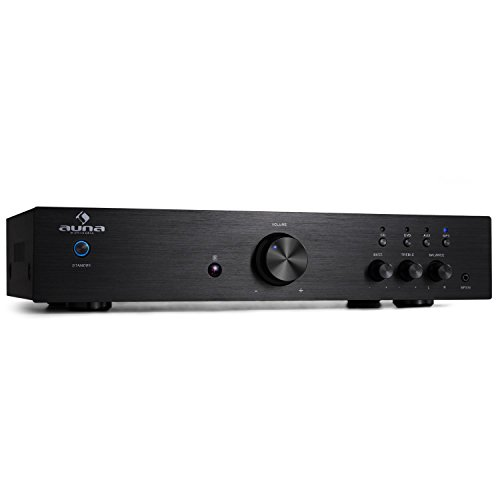 auna AV2-CD508, HiFi Audio-Verstärker, Stereo Endstufe, max. 600 Watt, 2-Band-Equalizer, 3 x Cinch-Eingang, 1 x Cinch-Ausgang, anthrazit