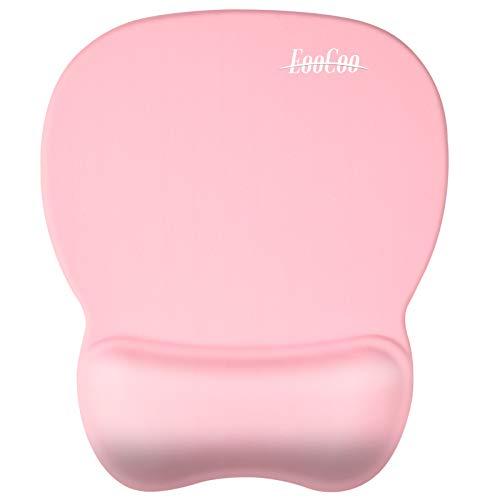 EooCoo Mauspad mit Gelkissen, Ergonomische Mousepad mit Rutschfest Silikon Unterseite, 4mm - Baby Pink