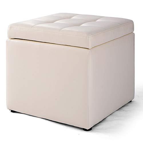 GOPLUS Sitzhocker mit Stauraum, Aufbewahrungshocker mit Deckel, Sitzwürfel aus PU-Leder, Sitzbox Farbwahl, Aufbewahrungsbox aus Holz, Polsterhocker 40x40x40cm (Weiß)
