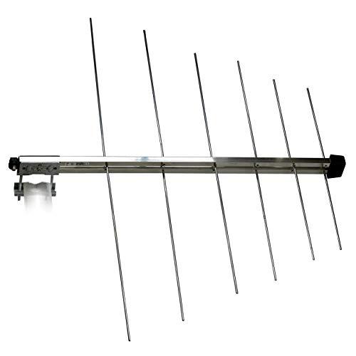 Logarithmische 12 Elemente DAB+ Außenantenne (VHF Band III) 3H-VHF-12-LOG 8 dB(i), passiv, F-Anschluss, für horizontale und vertikale Vor-Mast-Montage