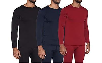 1 & 3 Pack: Men's Ultra-Soft Long Sleeve Crew Neck Thermal Shirt – Fleece Lined Compression Baselayer Top Underwear -Set 4,L