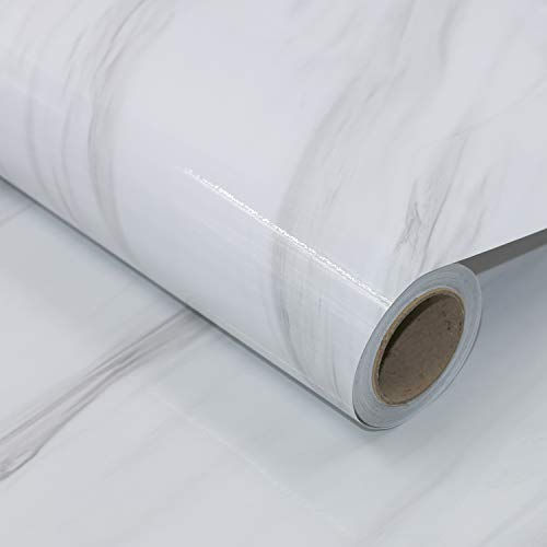 AWNIC Vinilo Adhesivo para Encimera de Cocina Papel Adhesivo para Muebles Mármol Blanco Impermeable Pegatinas para Forrar Muebles Mesas Armarios 500X61cm