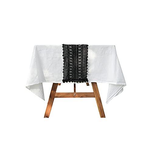 Kenfun Camino de mesa de encaje vintage, macramé de encaje de ganchillo, elegante mantel de malla hueca para decoración rústica de boda, festival, decoración de fiesta (24,8 x 160 cm), color negro