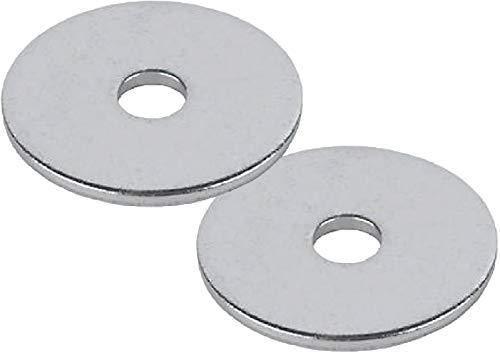 TERF® 15 Stück verzinkter Stahl M8 / 8 mm x 50 mm flache Reparaturen, Penny-Unterlegscheiben, Kotflügel-Unterlegscheibe, 8 mm Loch und 50 mm Außenseite, großer Durchmesser
