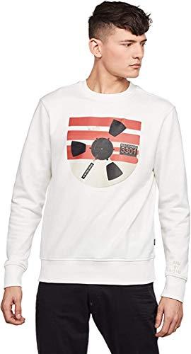 G-STAR RAW Herren Record Reel Sweatshirt, Beige (Milk A613-111), Medium (Herstellergröße: M)