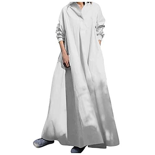 Shopler Vestidos midi para mujer vintage de manga larga con cuello redondo y botones holgados casuales con bolsillos vestido camisa, blanco, S